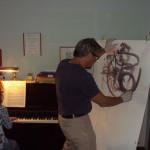 Donatella Lotti al pianoforte col pittore Vito Taddeo